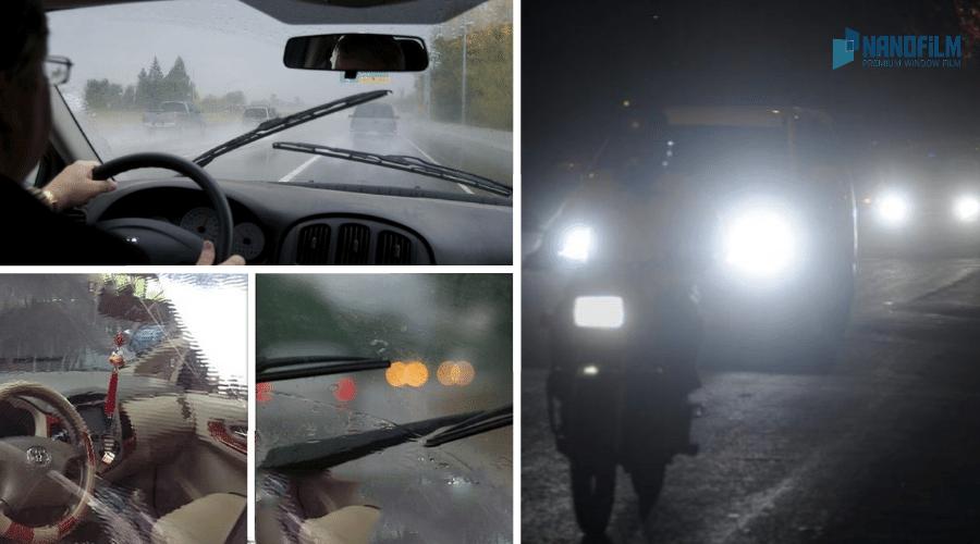 film dán kinh lái ô tô bị nhòe, mờ