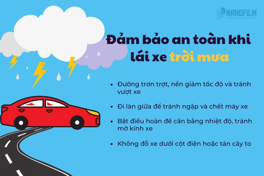 đảm bảo an toán khi lái xe trời mưa