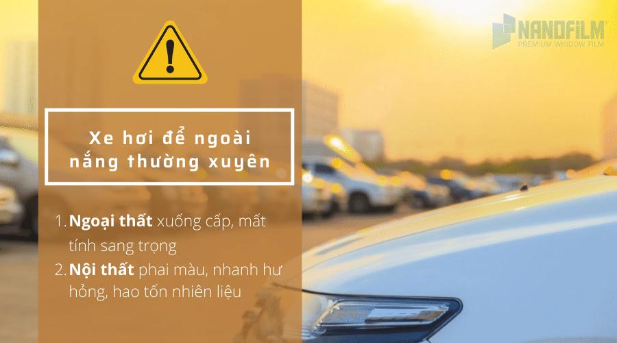 tác hại của để ô tô ngoài nắng quá lâu