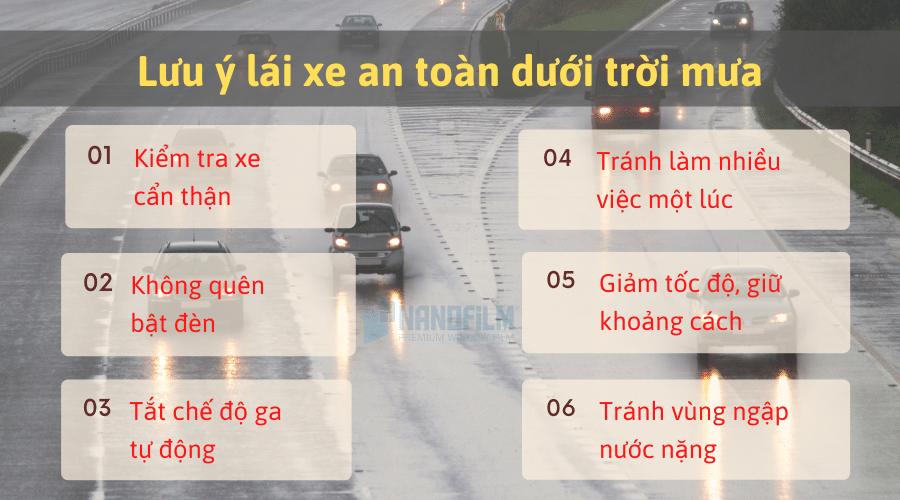 Bỏ túi 6 lưu ý quan trọng để lái xe an toàn dưới trời mưa