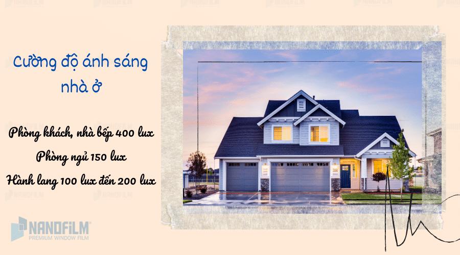 Cường độ ánh sáng tiêu chuẩn cho nhà ở