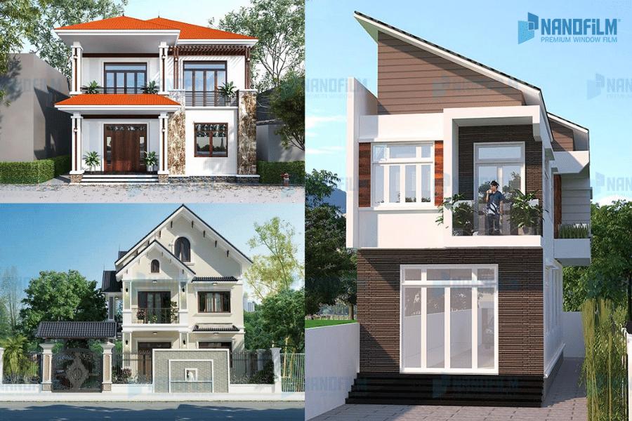 mẫu nhà vuông 2 tâng giá rẻ kiểu mái thái
