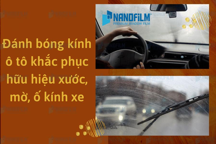 Đánh bóng kính ô tô khắc phục hữu hiệu xước, mờ, ố kính xe