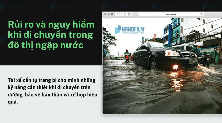 Rủi ro và nguy hiểm khi di chuyển trong đô thị ngập nước